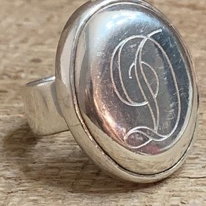 "925 Sterling Silver ""D"" Ring"